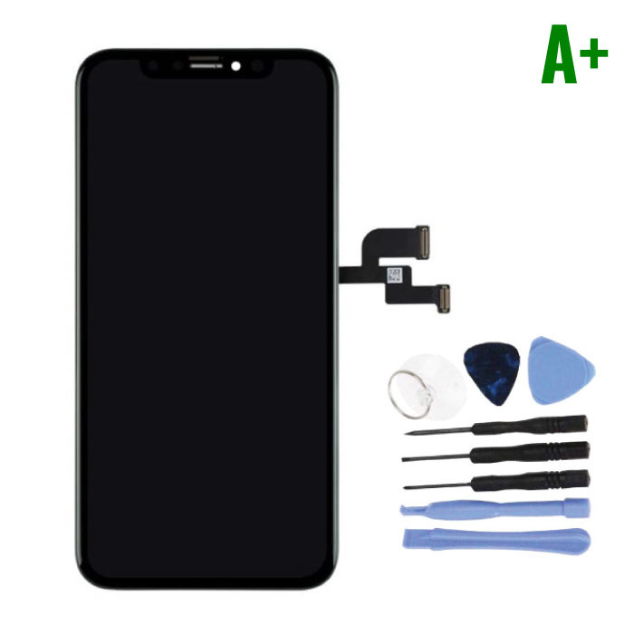 iPhone XS Screen (Touchscreen + OLED + Parts) A + Quality - Black + Tools