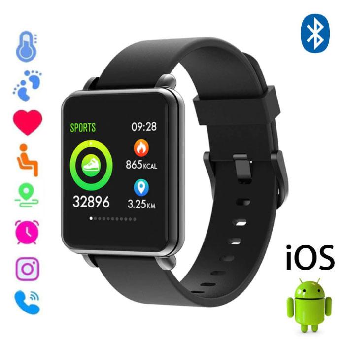 Land 1 Smartwatch Smartband Smartphone Horloge OLED iOS Android Zwart Siliconen Bandje