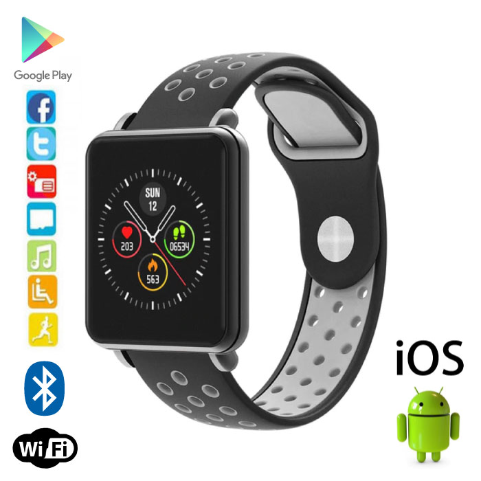 Land 1 Smartwatch Smartband Smartphone Fitness Sport Activity Tracker Horloge OLED iOS Android iPhone Samsung Huawei Grijs Two-Tone Bandje