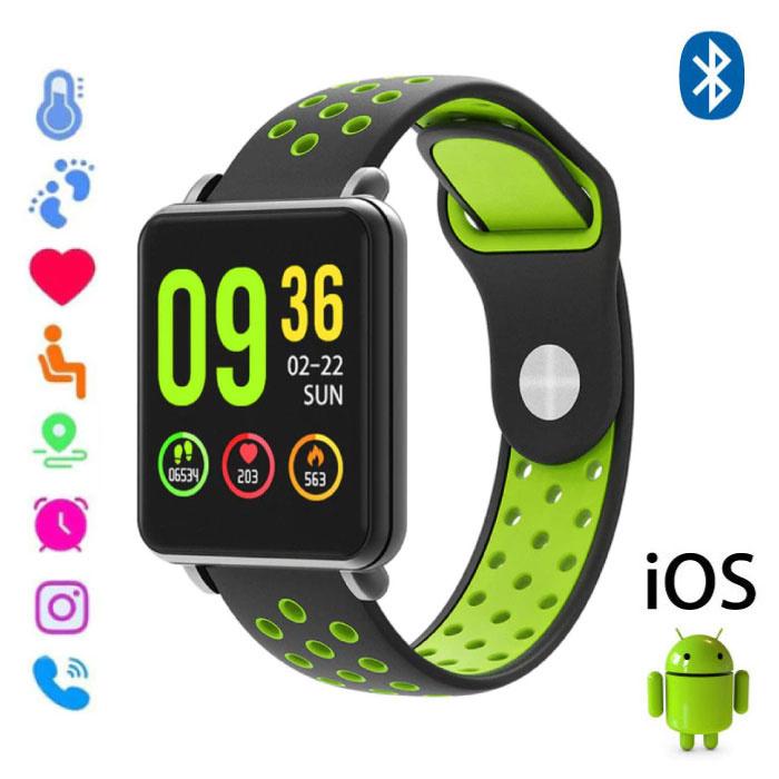 Land 1 Smartwatch Smartband Smartphone Horloge OLED iOS Android Groen Two-Tone Bandje
