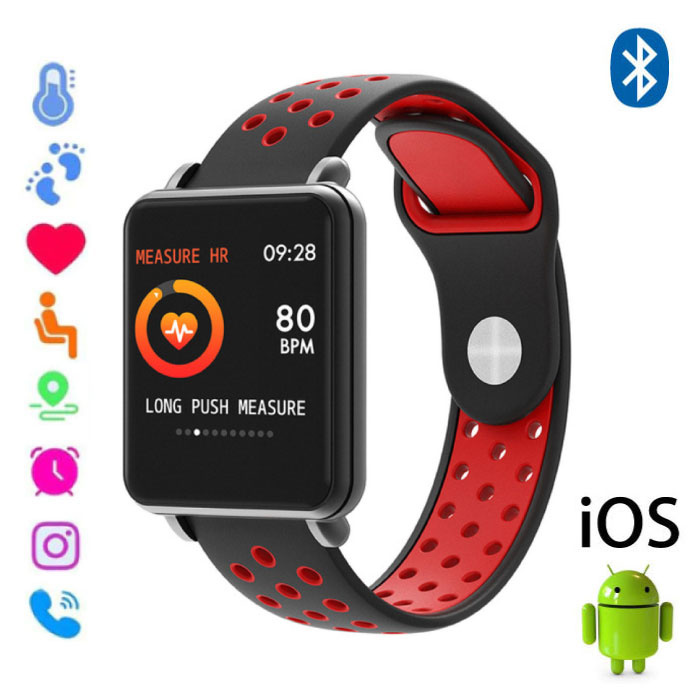 Land 1 Smartwatch Smartband Smartphone Fitness Sport Activity Tracker Horloge OLED iOS Android iPhone Samsung Huawei Rood Two-Tone Bandje