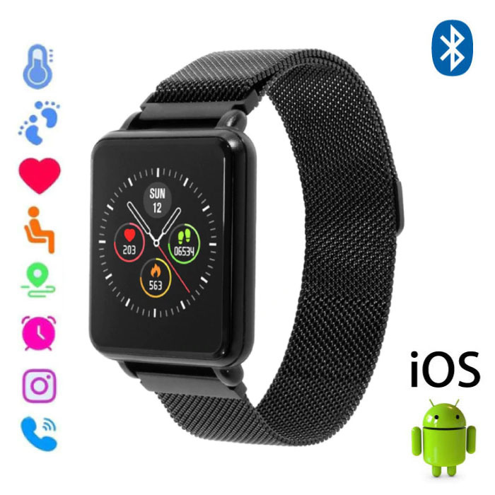 Land 1 Smartwatch Smartband Smartphone Fitness Sport Activity Tracker Horloge OLED iOS Android iPhone Samsung Huawei Zwart Magnetisch Bandje