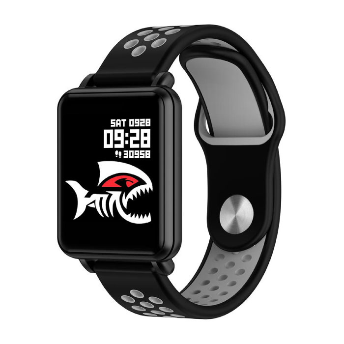 Pays premier SmartWatch intelligent Band Smartphone Fitness Sports Tracker activité Regarder OLED iOS iPhone Android Samsung Huawei gris bande deux tons