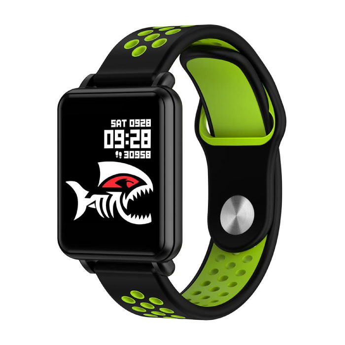 Pays premier SmartWatch intelligent Band Smartphone Fitness Sports Tracker activité Regarder OLED iOS iPhone Android Samsung Huawei Vert bande deux tons
