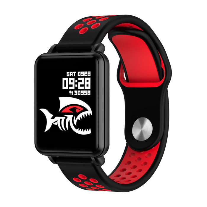 Country 1 Smartwatch Smartband Smartphone Fitness Sport Activity Tracker Watch OLED iOS Android iPhone Samsung Huawei Red Two-Tone Strap