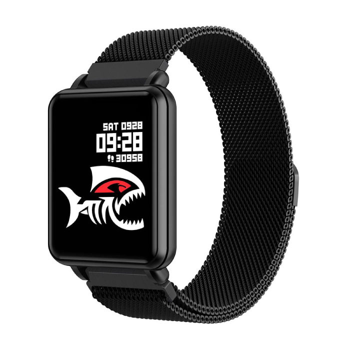 Pays premier SmartWatch intelligent Band Smartphone Fitness Sports Tracker activité Regarder OLED iOS iPhone Android Samsung Huawei Noir Wristband magnétique