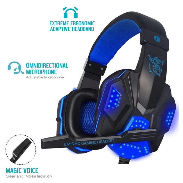 PC780 Casque de jeu Casque sur l'oreille avec microphone bleu