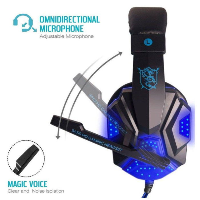 EastVita PC780 Gaming Headset Headset Headphones Over Ear with Microphone Blue