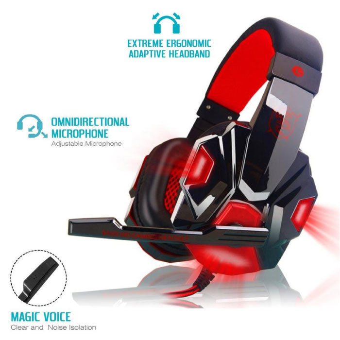 EastVita PC780 Gaming Headset Headset Headphones Over Ear with Microphone Red
