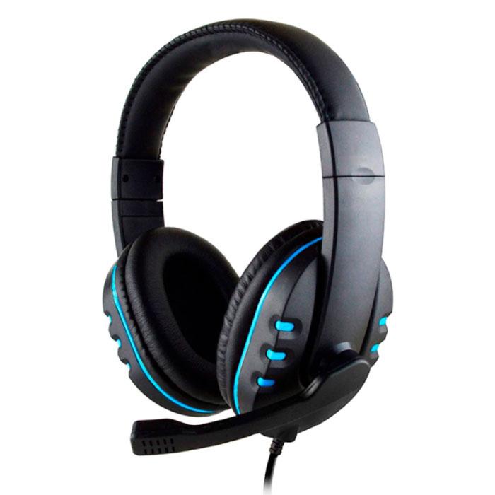 Casque de jeu filaire Casque d'écoute sur l'oreille avec microphone bleu
