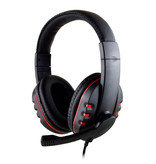 SOONHUA Wired Gaming Headset Casque casque sur l'oreille avec microphone rouge
