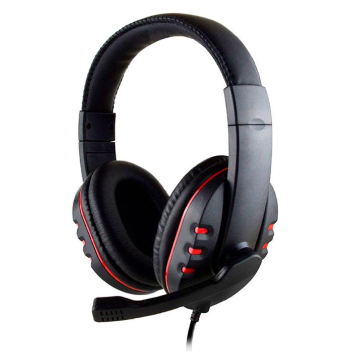 Casque de jeu filaire Casque d'écoute sur l'oreille avec microphone rouge