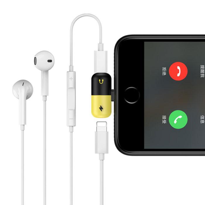 !ACEZZ iPhone Lightning Charger + Headphone Audio Splitter Yellow