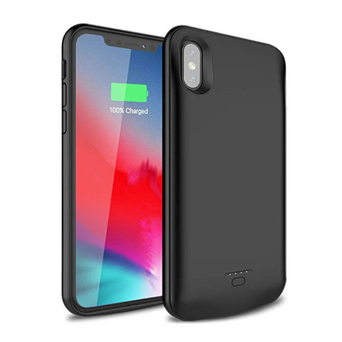 iPhone XS Max 5000mAh Slim Powercase Powerbank Oplader Batterij Cover Case Hoesje  Zwart