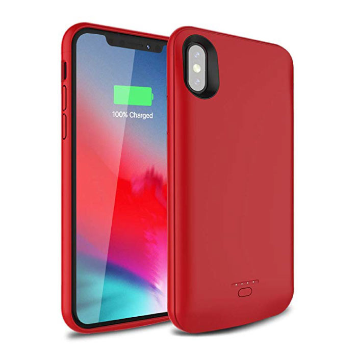 Housse Coque Etui Chargeur Powerbank Slim pour iPhone XS Max 5000mAh Rouge