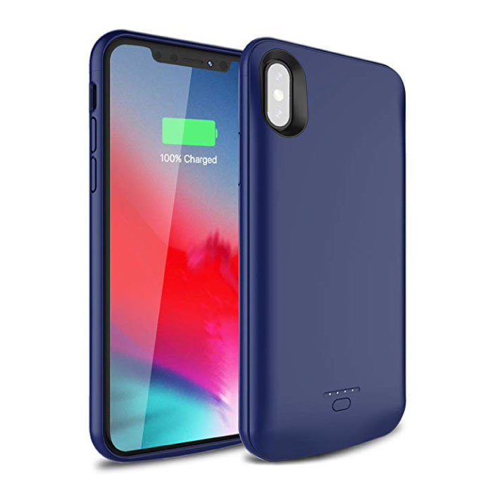 iPhone XR 5000mAh Slim Powercase Powerbank Oplader Batterij Cover Case Hoesje Blauw