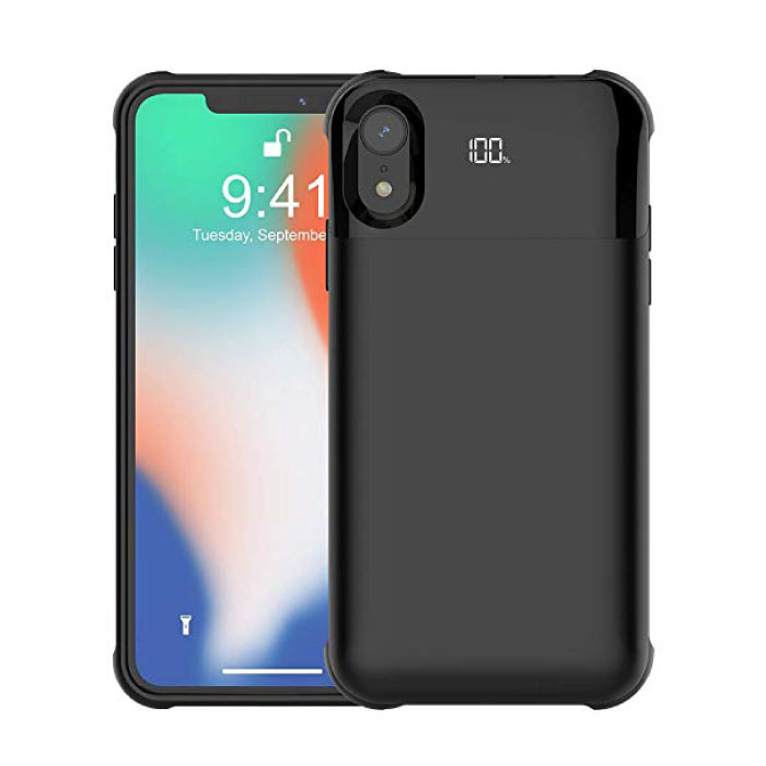 iPhone XR 5500mAh Magnetic Powercase Powerbank Oplader Batterij Cover Case Hoesje Digitaal Display Zwart