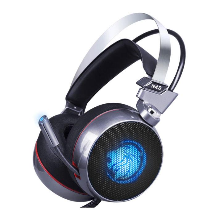 N43 Écouteurs de jeu stéréo Casque Casque 7.1 Surround virtuel avec microphone