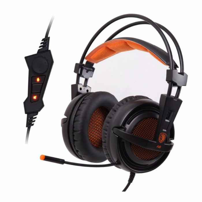 A6 Gaming Headphone 7.1 Surround Headset Headphones with Microphone