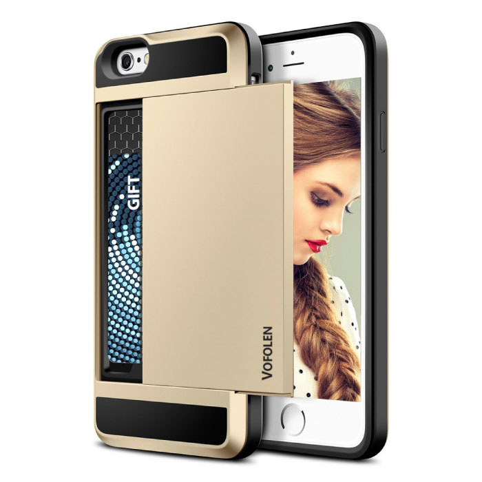 iPhone 5S - Wallet Card Slot Cover Case Hoesje Business Goud