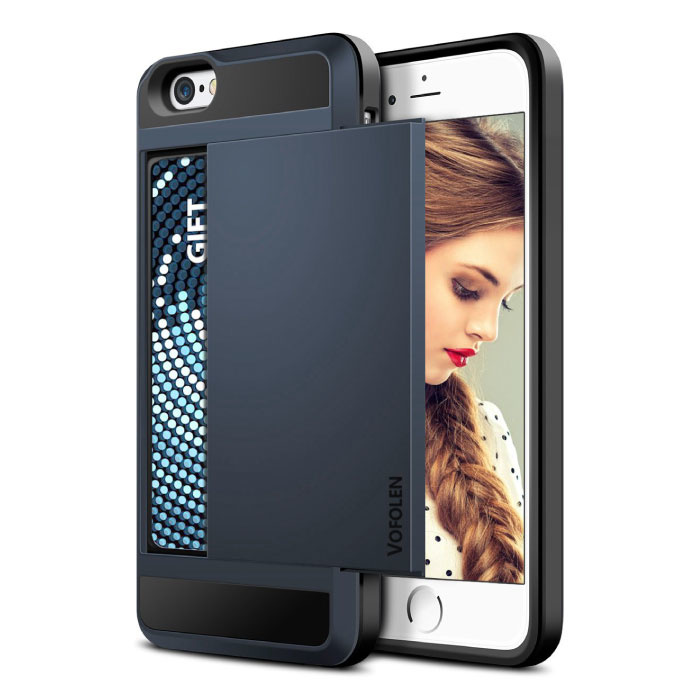 iPhone 6 Plus - Wallet Card Slot Cover Case Hoesje Business Blauw