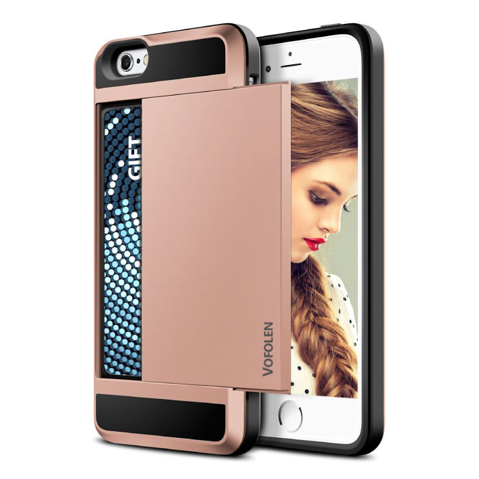 iPhone 6S Plus - Wallet Card slot Housse Business Case Rose