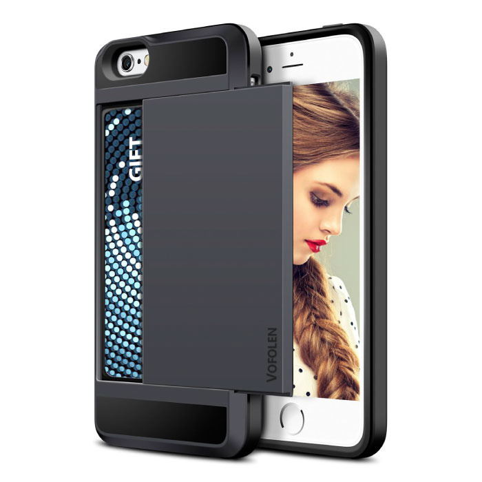 iPhone 7 - Wallet Card Slot Cover Case Business Black