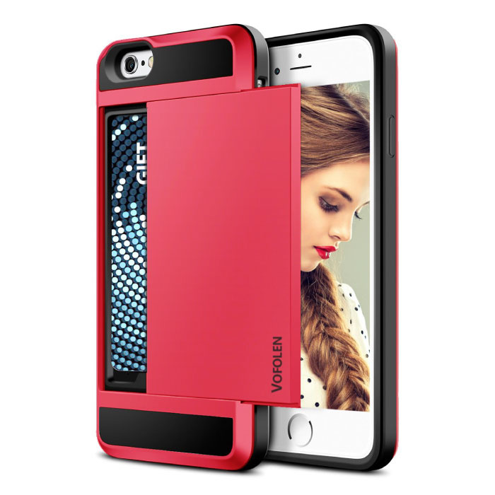 iPhone 7 Plus - Wallet Card Slot Cover Case Business Red