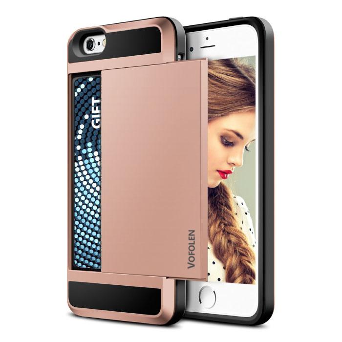 iPhone 8 Plus - Wallet Card Slot Cover Case Hoesje Business Roze