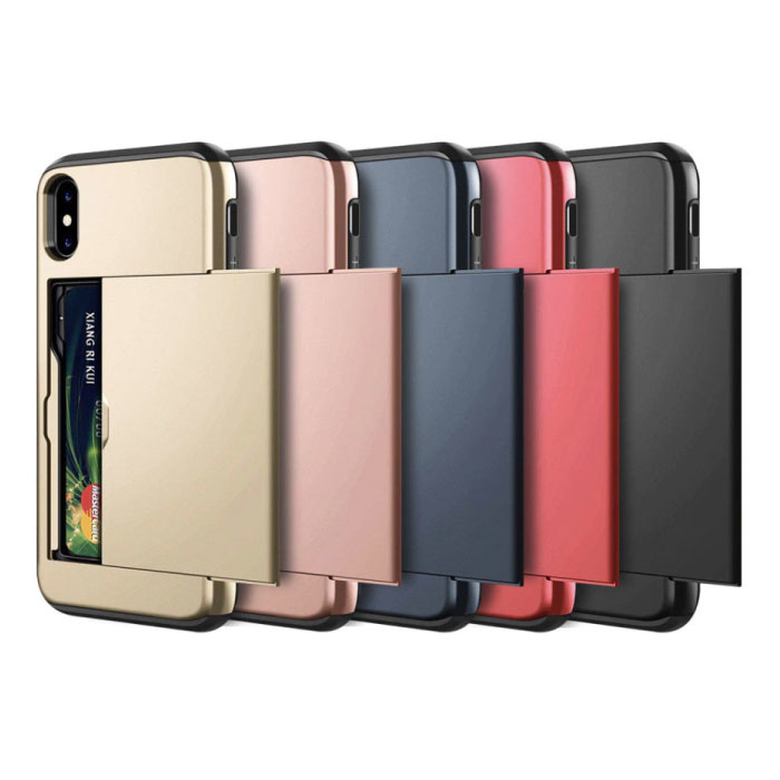 VOFOLEN iPhone X - Wallet Card Slot Cover Case Business Blue