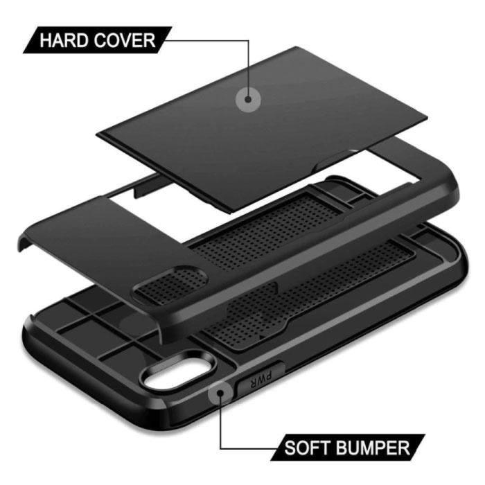 VOFOLEN iPhone XS - Wallet Card Slot Cover Case Business Blue