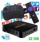 Stuff Certified® Lecteur multimédia MX10 Pro 6K TV Box Android 9.0 Kodi - 4 Go de RAM - Stockage de 32 Go + Clavier sans fil