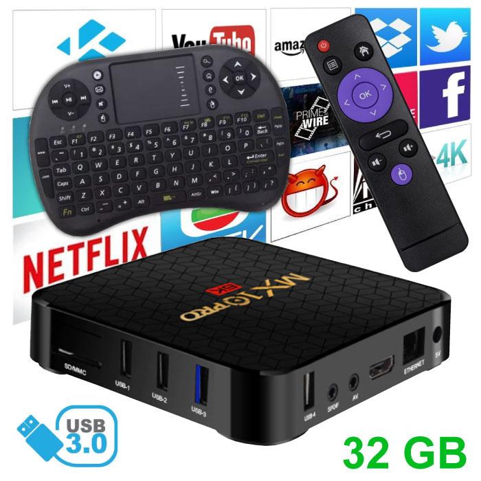 MX10 Pro 6K TV Box Mediaspeler Android 9.0 Kodi - 4GB RAM - 32GB Opslagruimte + Draadloos Toetsenbord