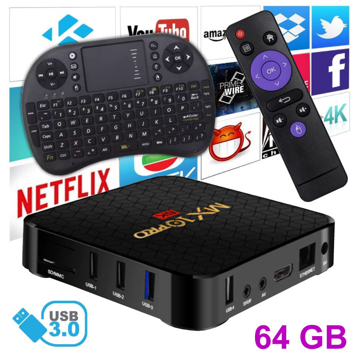 MX10 Pro 6K TV Box Media Player Android 9.0 Kodi - 4GB RAM - 64GB Storage + Wireless Keyboard