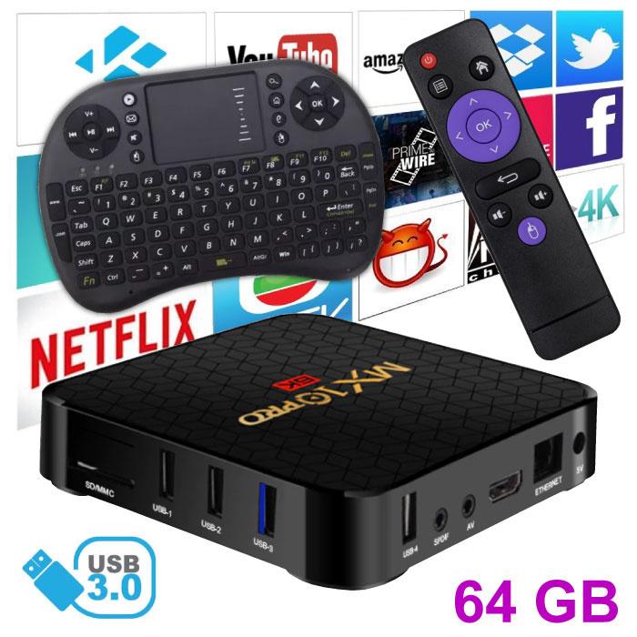 MX10 Pro 6K TV Box Mediaspeler Android 9.0 Kodi - 4GB RAM - 64GB Opslagruimte + Draadloos Toetsenbord