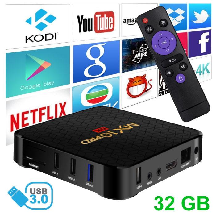 Stuff Certified® Lecteur multimédia MX10 Pro 6K TV Box Android Kodi - 4 Go de RAM - Stockage de 32 Go