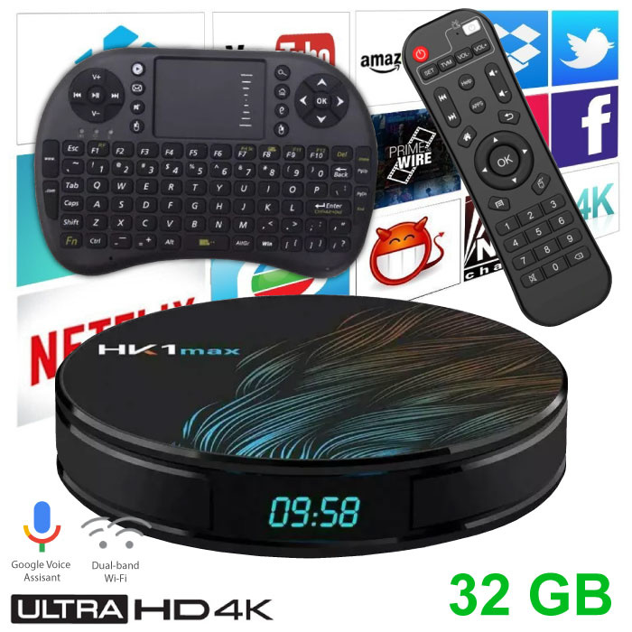 HK1 Max 4K TV Box Mediaspeler Android Kodi - 4GB RAM - 32GB Opslagruimte + Draadloos Toetsenbord