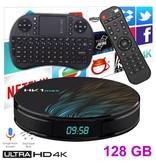 Stuff Certified® Lecteur multimédia HK1 Max 4K TV pour Android Kodi - 4 Go de RAM - Stockage de 128 Go + Clavier sans fil