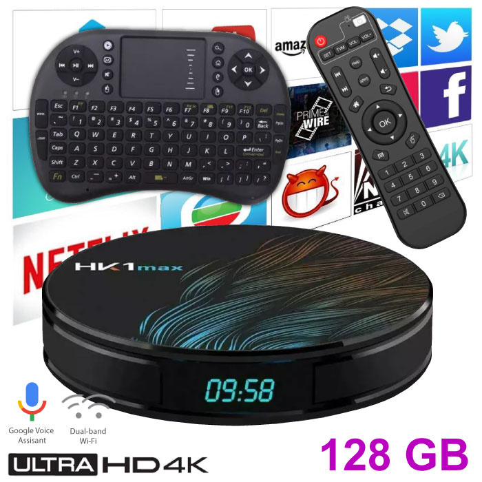 Lecteur multimédia HK1 Max 4K TV pour Android Kodi - 4 Go de RAM - Stockage de 128 Go + Clavier sans fil