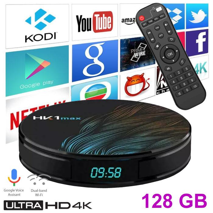 Stuff Certified ® Lecteur multimédia HK1 Max 4K TV avec Android Kodi - 4 Go de RAM - 128 Go de stockage