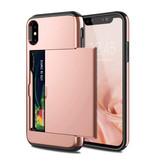 VOFOLEN iPhone XS - Wallet Card Slot Cover Case Hoesje Business Roze