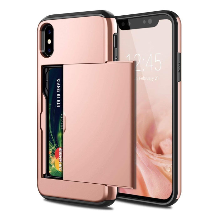 iPhone XS - Wallet Card Slot Cover Case Hoesje Business Roze