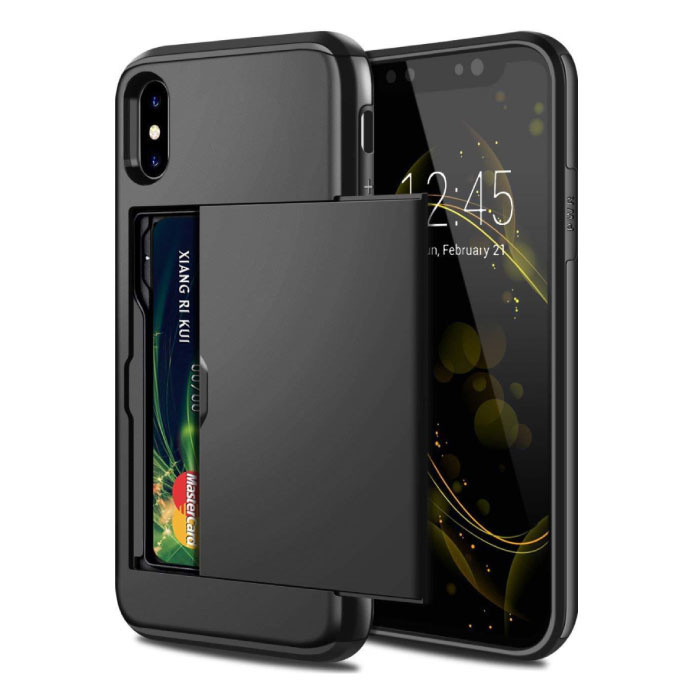 iPhone XS - Wallet Card Slot Cover Case Business Black
