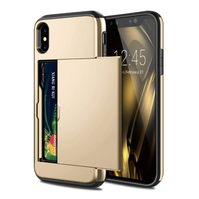 iPhone XR - Wallet Card Slot Cover Case Hoesje Business Goud