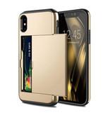 VOFOLEN iPhone X - Etui portefeuille pour cartes à puce Business Gold