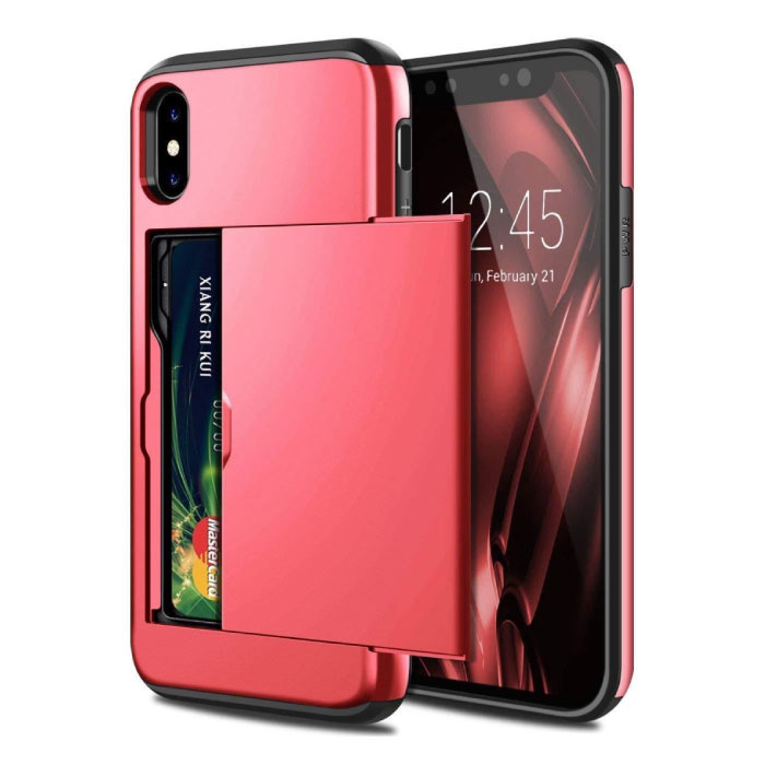 iPhone X - Card Wallet Fente Housse Business Case rouge