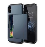 VOFOLEN iPhone X - Wallet Card Slot Cover Case Hoesje Business Blauw
