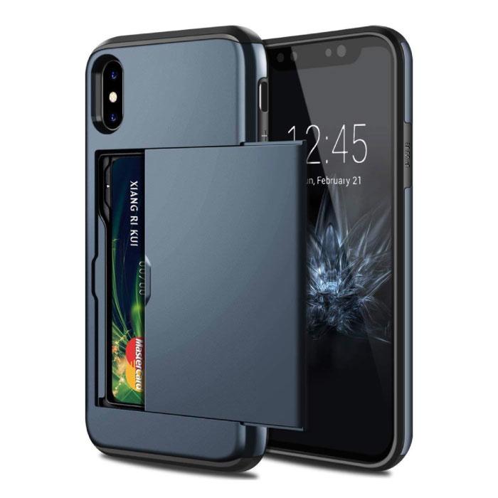 iPhone X - Card Wallet Fente Housse Business Case Bleu