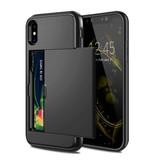 VOFOLEN iPhone X - Wallet Card Slot Cover Case Business Black