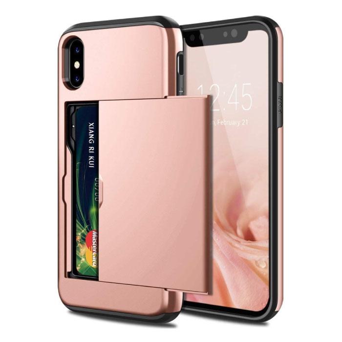iPhone X - Brieftasche Kartenschlitzabdeckung Fall Fall Business Pink